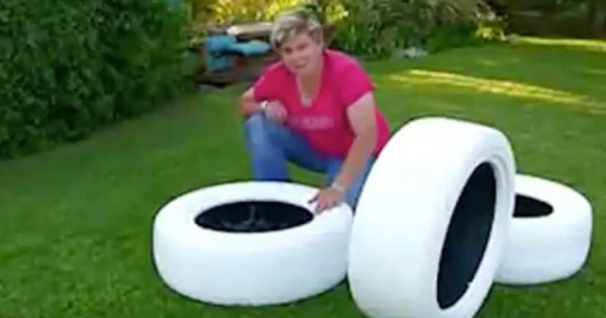 Ella Pinta 3 Neumáticos En El Jardín Y Crea Algo Para