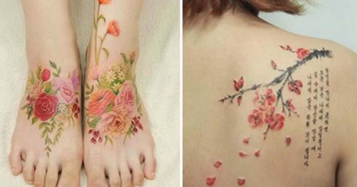 Ella Pinta Elegantes Tatuajes Que Parecen Disenos De Acuarelas