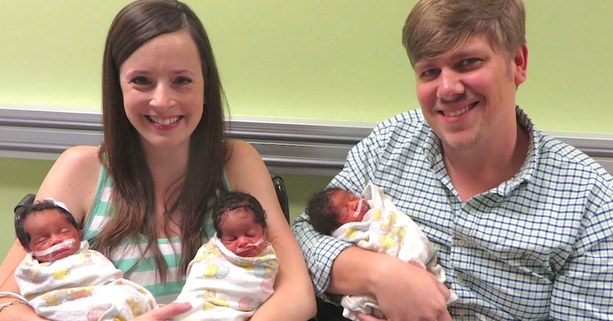 Mom gives birth to 3 black babies – then dad looks closer & bursts into tears
