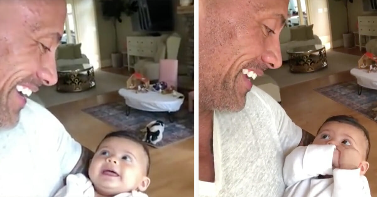 Dwayne Johnson Posts Hilarious Video With New Baby Daughter