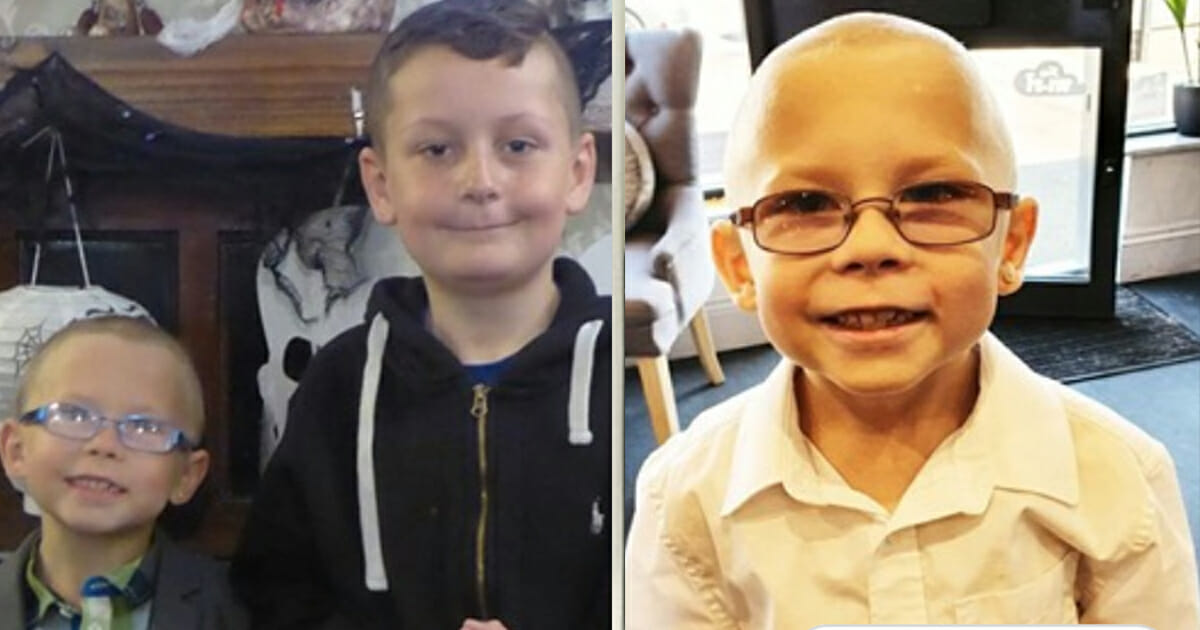 """Schoolboy shaves his head so that he and friend with cancer can """"be bald together"""""""