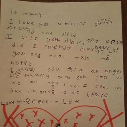 brev till mördade mamma