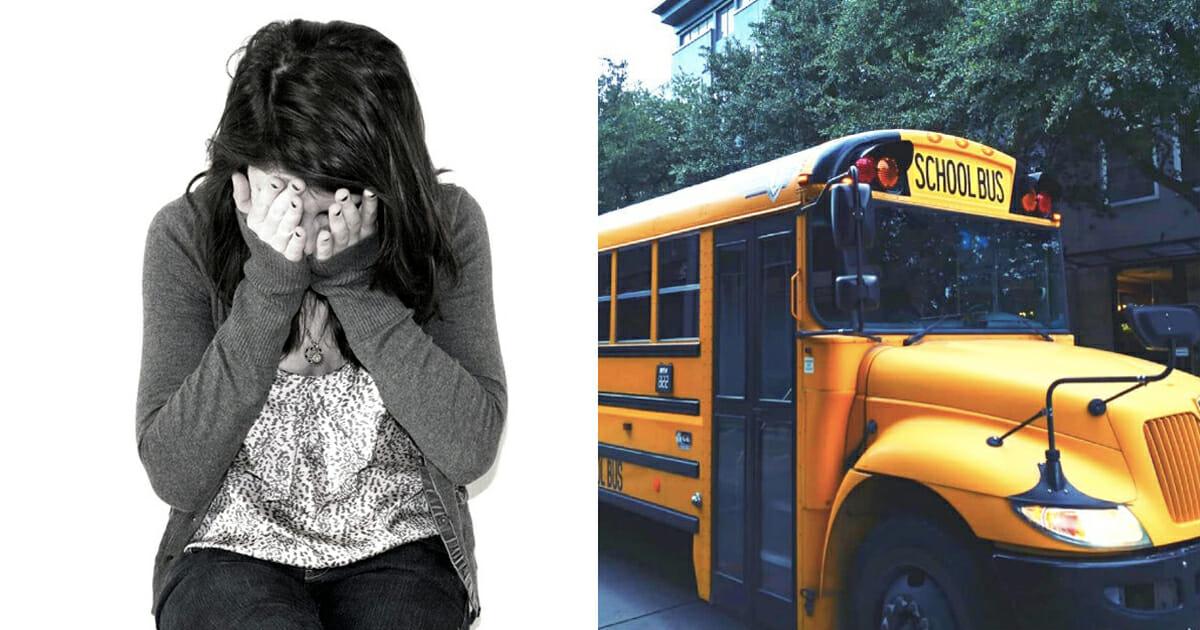 flicka, skolbuss