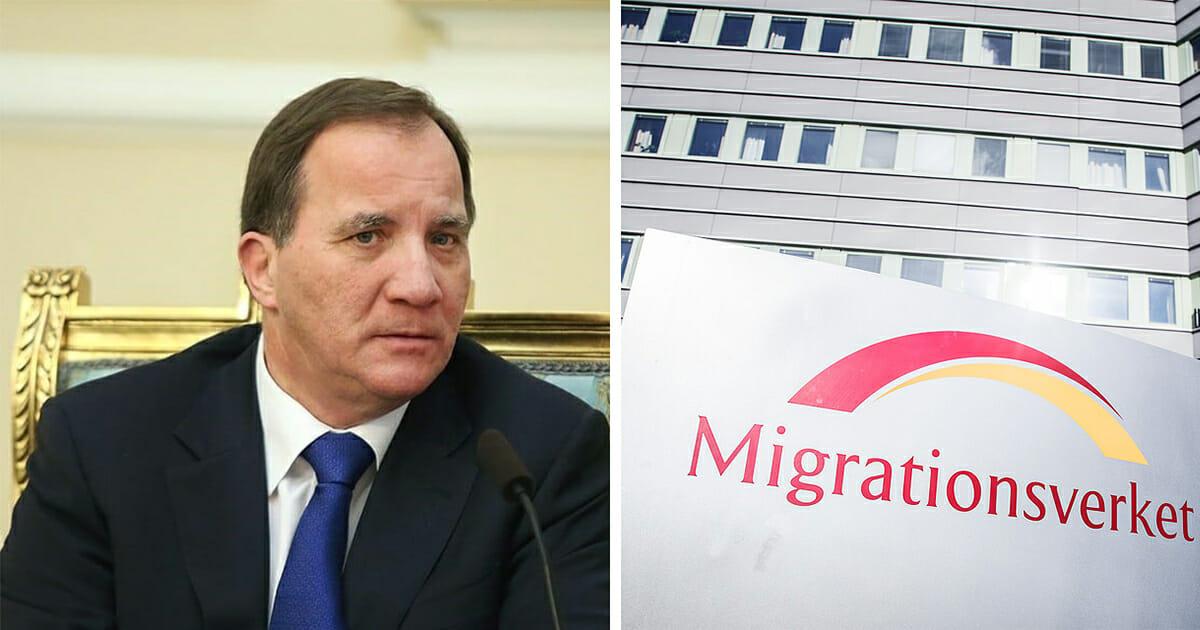 Stefan Löfven skriver under migrationsavtalet.