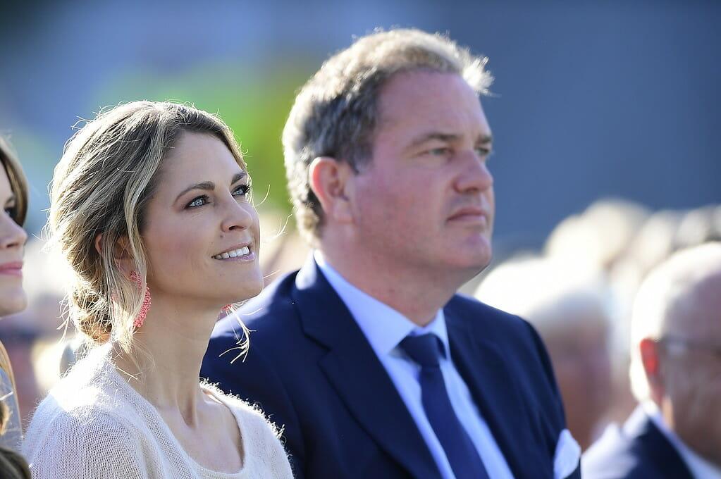 BORGHOLM 2019-07-14 Prinsessan Madeleine och Christopher O'Neill under firandet av Victoriadagen på Borgholms idrottsplats på söndagen. Foto: Mikael Fritzon / TT