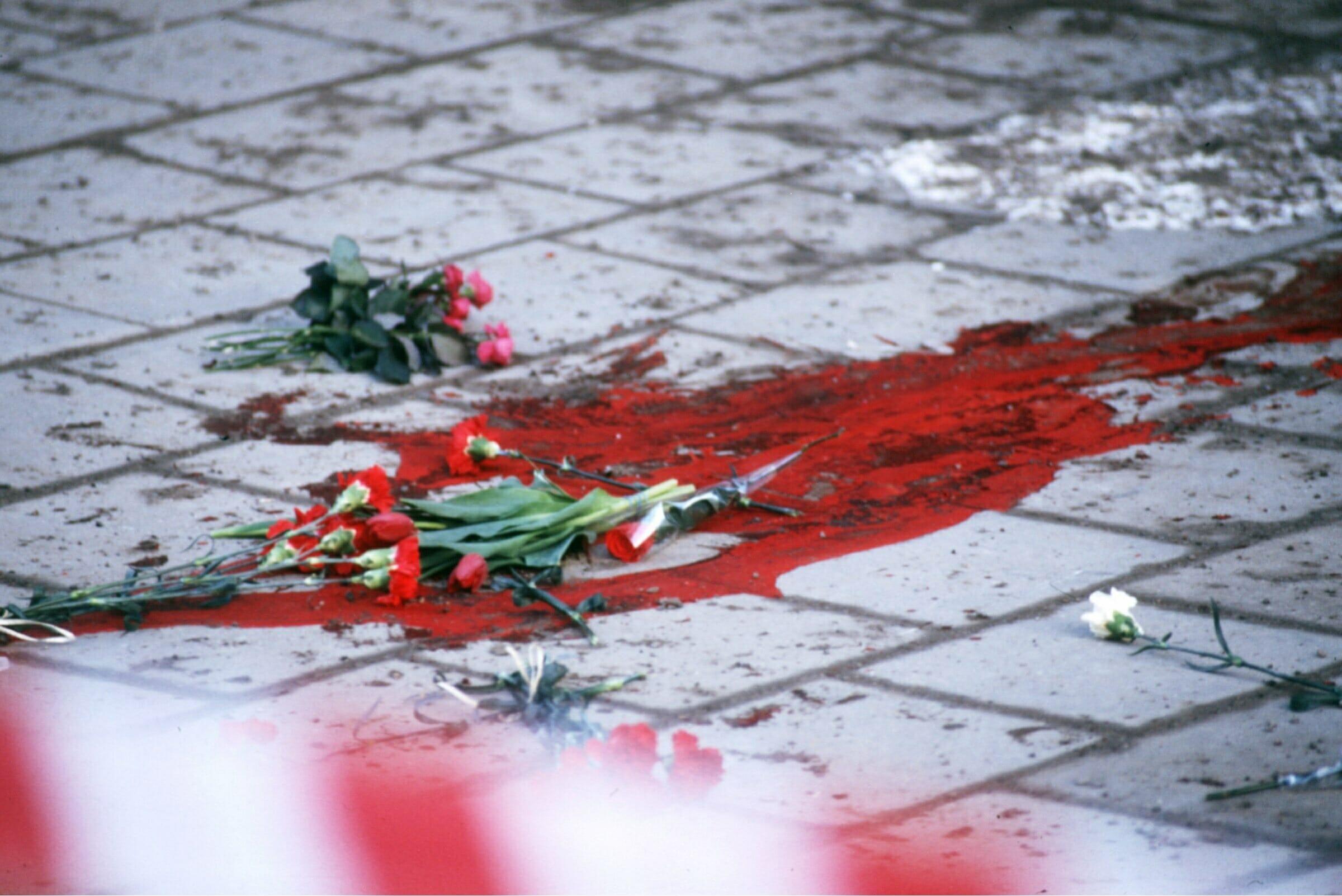 Mordplatsen 1986 i centrala Stockholm.