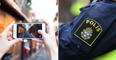 filma, mobiltelefon, polis