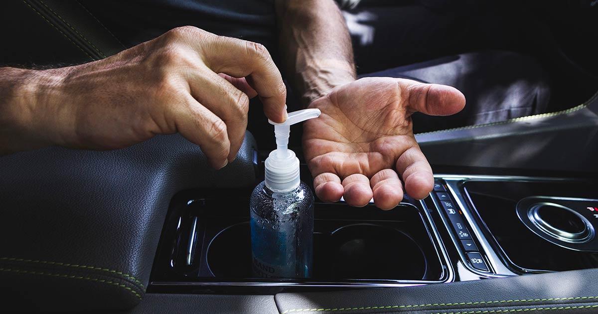 hand alcohol, car