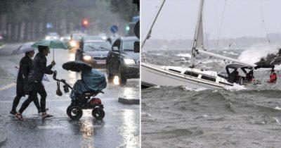 oväder, regn, hårda vindar