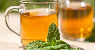 Zdjęcie przedstawia dwie szklanki herbaty oraz listki mięty