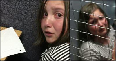 Materiał przedstawia dwa zdjęcia zapłakanej dziewczynki