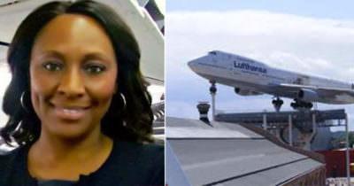 Grafika przedstawia dwa zdjęcia - z lewej Sheila Frederick, z prawej - samolot