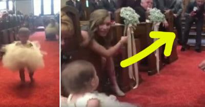 Córka drepcze w kierunku pary. Zobacz jej reakcję, gdy przy ołtarzu rozpoznała tatę.