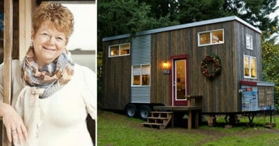 Grafika przedstawia dwa zdjęcia - po lewej znajduje się Michelle, a po prawej jej malutki domek