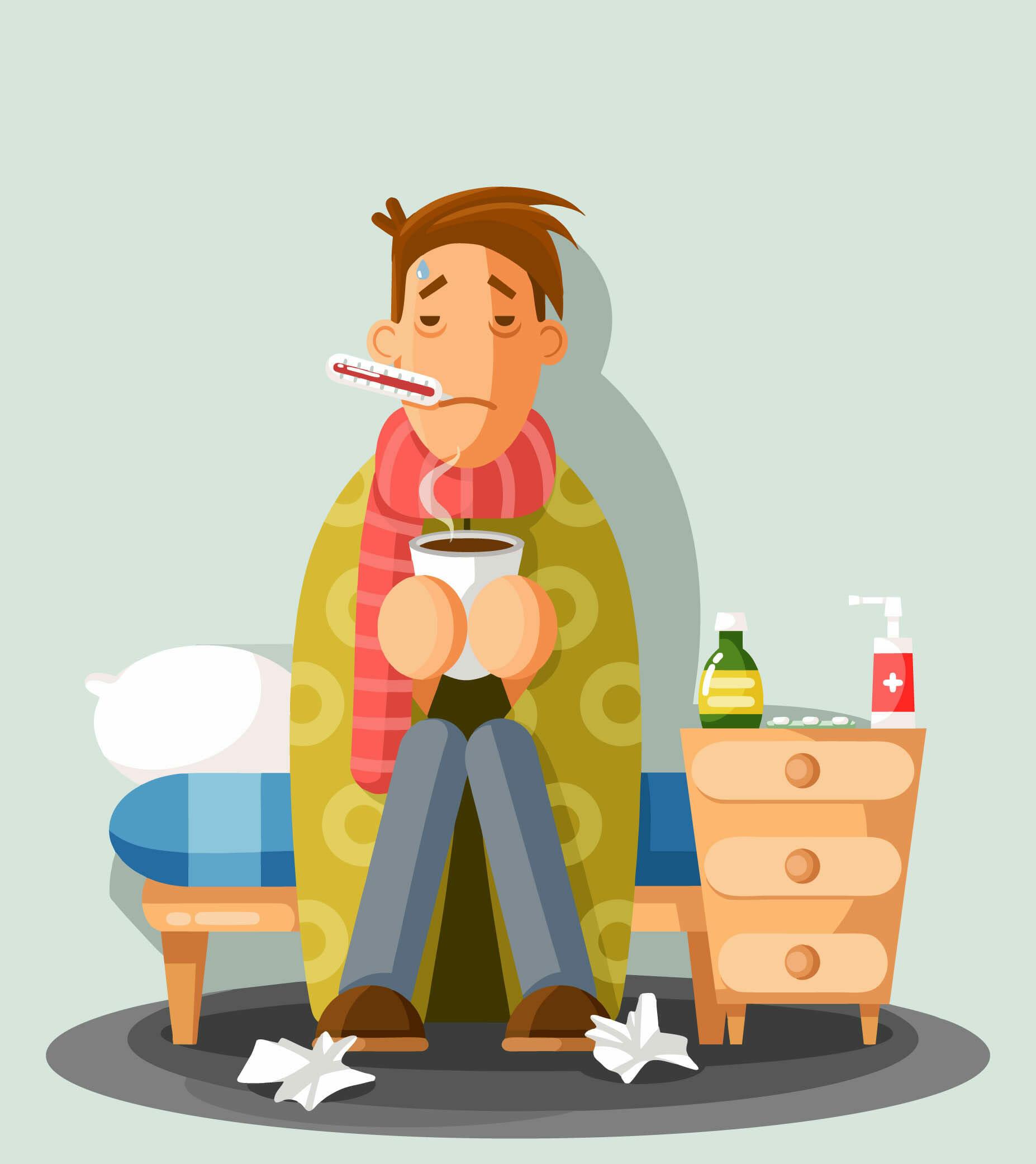 Na rysunku widać mężczyznę, który jest przeziębiony