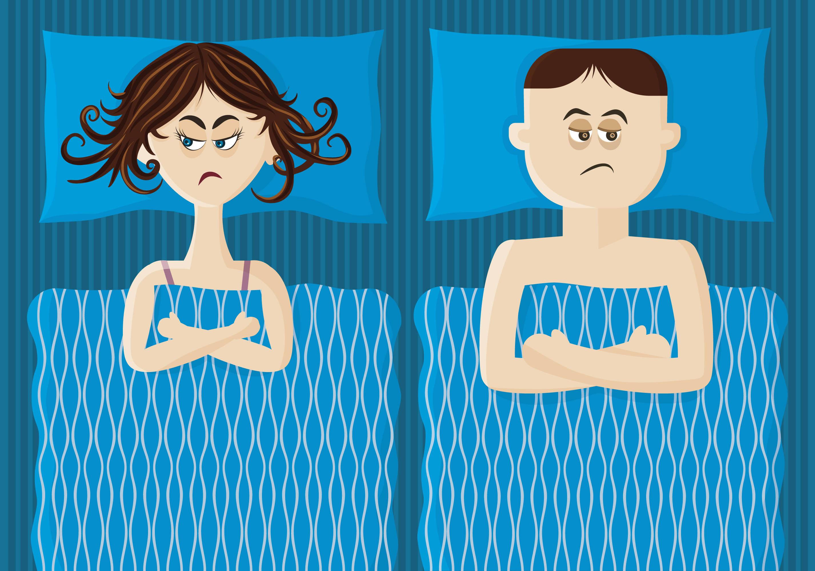 Na rysunku widać leżącą w łóżku parę, która jest na siebie obrażona