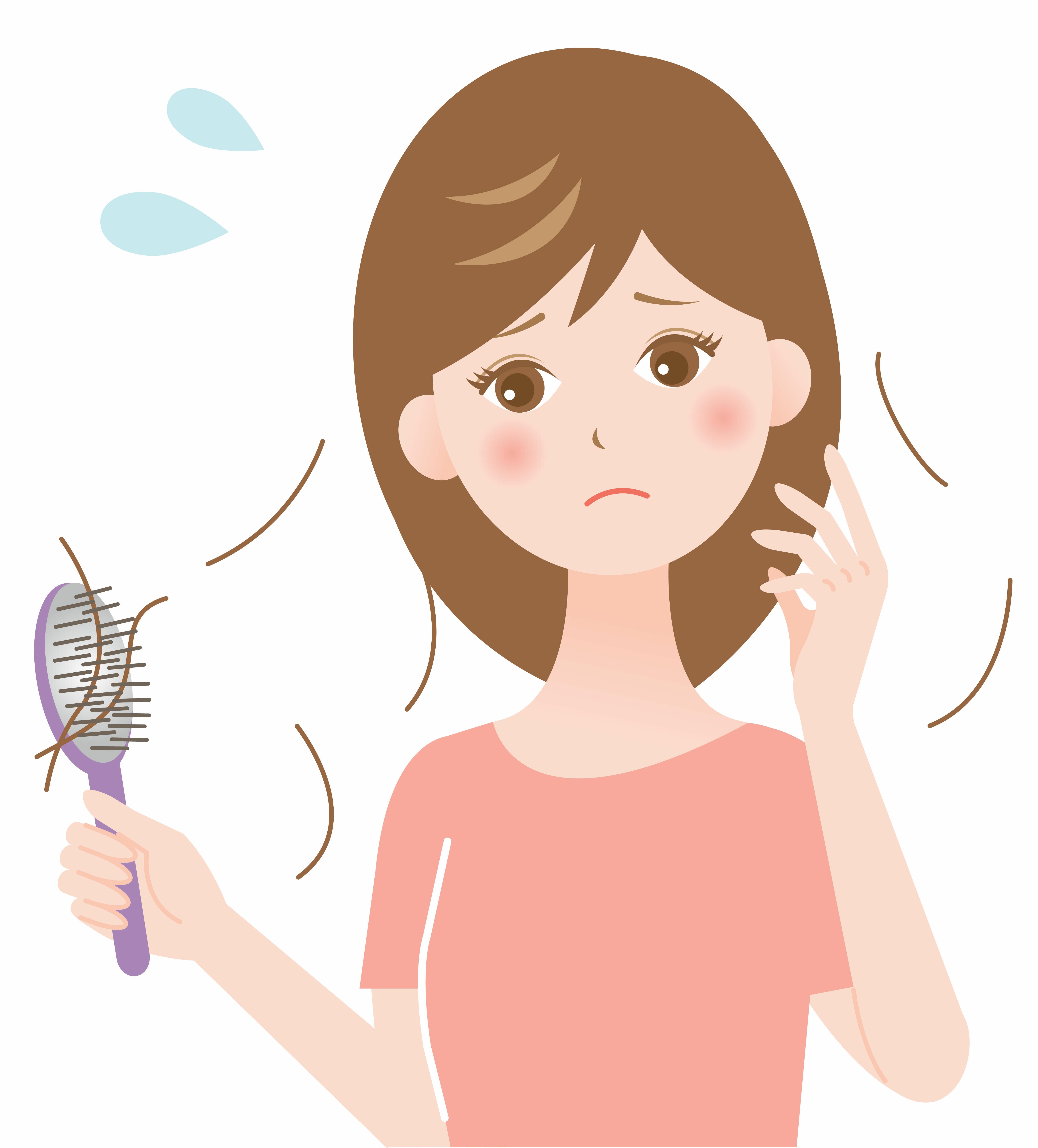 Na rysunku przedstawiona jest smutna kobieta, której podczas szczotkowania wypadają włosy