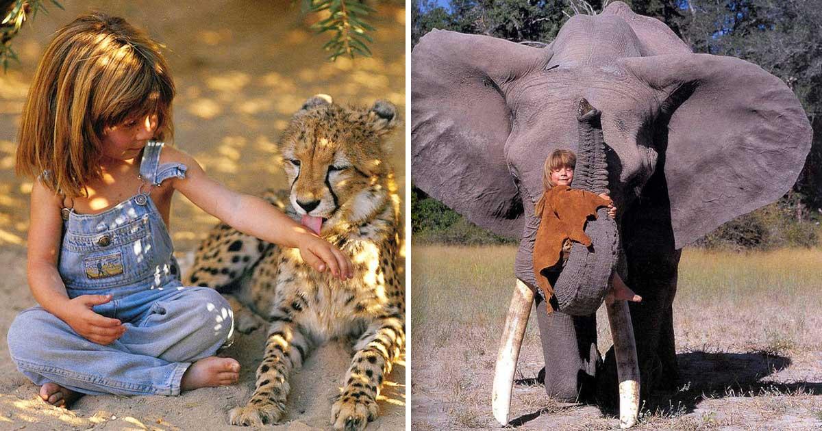 Grafika przedstawia dwa zdjęcia: Tippi z lampartem i Tippi ze słoniem