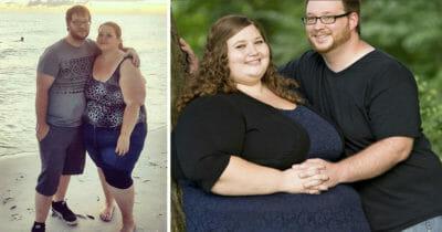 Grafika przedstawia dwa zdjęcia - para po utracie wagi i para przed rozpoczęciem odchudzania