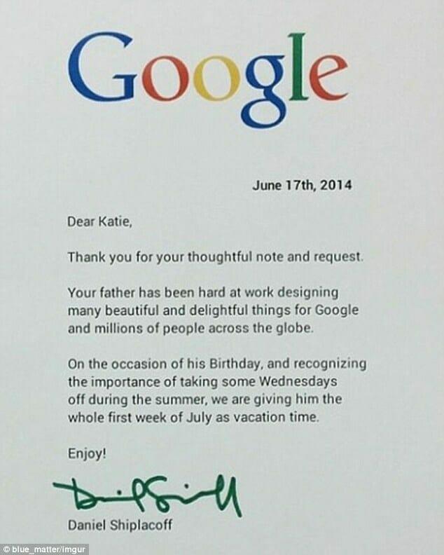 Na zdjęciu znajduje się treść odpowiedzi, jaką do dziewczynki wystosował pracownik Google