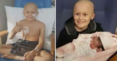 Grafika przedstawia dwa zdjęcia - po lewej Bailey pokazujący kciuk w górę, a po prawej Bailey trzymający na rękach swoją siostrę