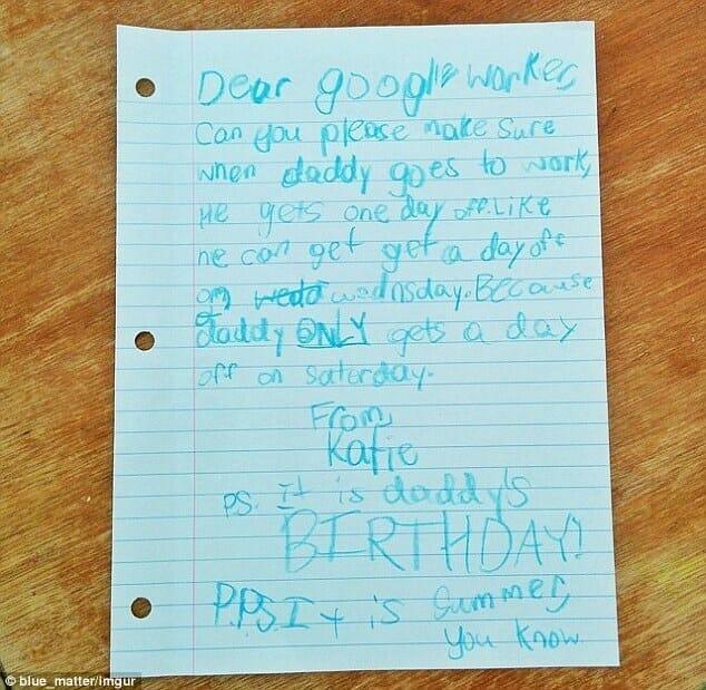 Na zdjęciu znajduje się list, który mała Katie napisała do szefa swojego taty