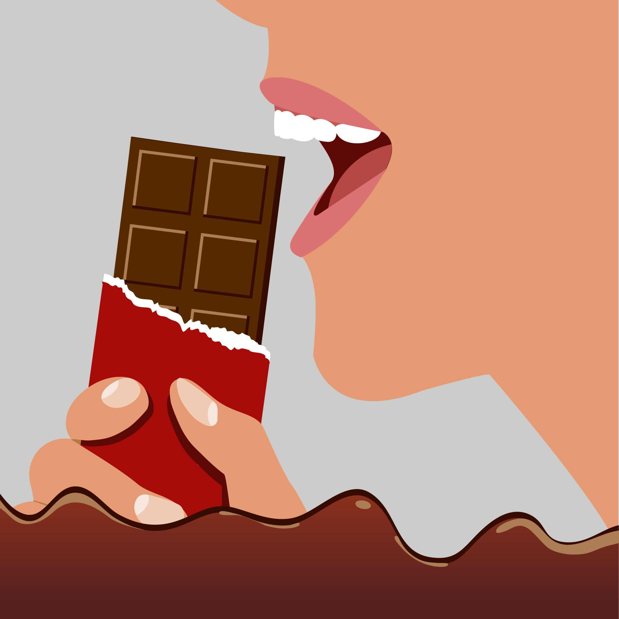 Na rysunku znajduje się kobieta, która zbliża do ust tabliczkę czekolady