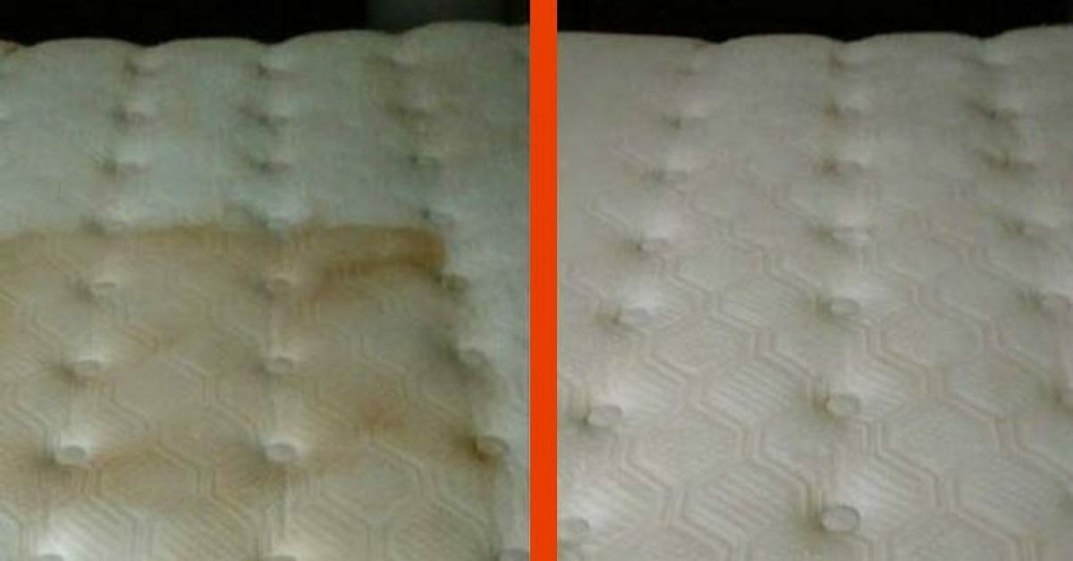 Na zdjęciu znajduje się porównanie wyglądu materaca przed czyszczeniem i po czyszczeniu