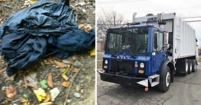 Grafika przedstawia dwa zdjęcia - po lewej pełny worek na śmieci, po prawej śmieciarka