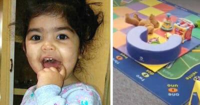 Grafika przedstawia dwa obrazki, po lewej córeczka kobiety, po prawej miejsce do zabawy dla dzieci
