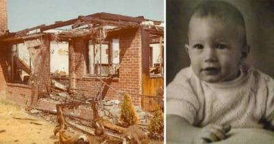 Grafika przedstawia dwa zdjęcia: po lewej zgliszcza spalonego domu, po prawej czarno-biała fotografia małego chłopca