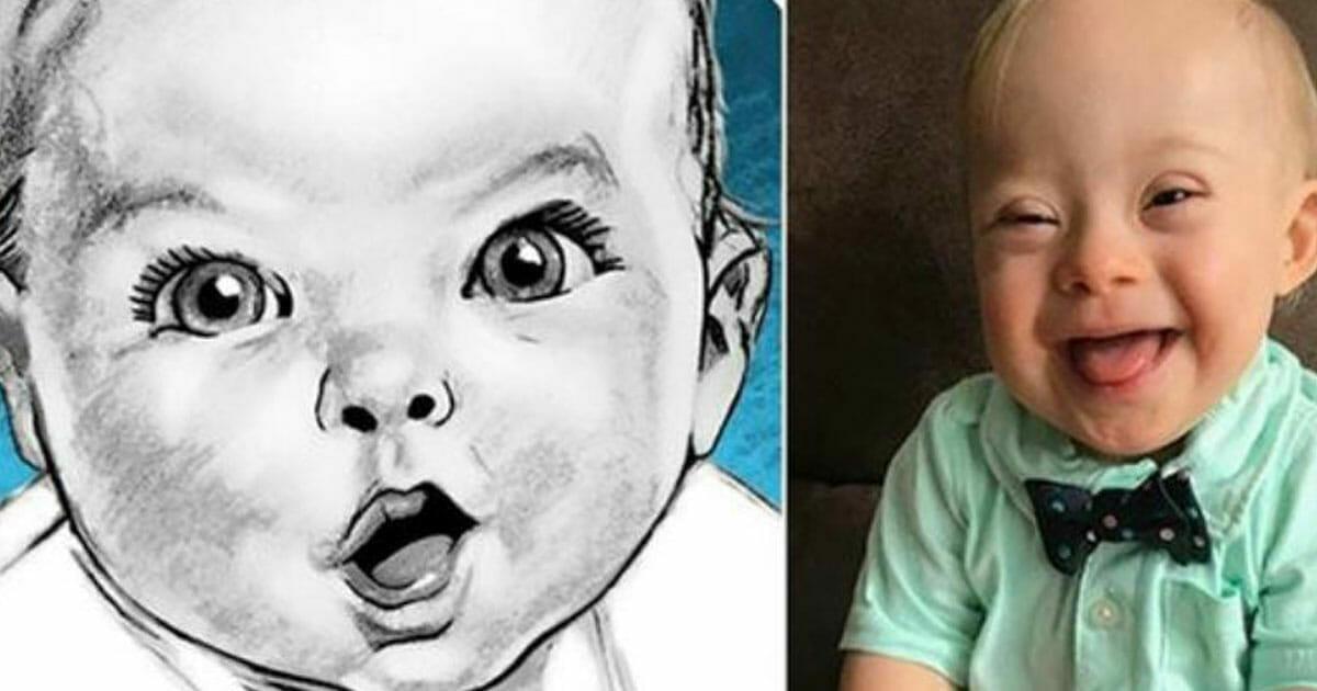Po lewej stronie znajduje się narysowane w charakterystyczny sposób dziecko Gerbera, a po prawej zwycięskie zdjęcie uśmiechniętego Lucasa