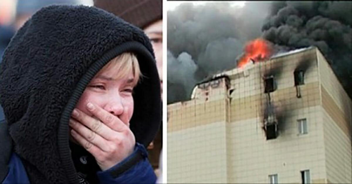 grafika przedstawia dwa zdjęcia: po lewej płaczącego chłopca, po prawej płonącą galerię handlową