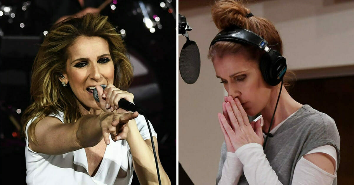 Grafika przedstawia dwa zdjęcia Celine Dion - jedno podczas koncertu, a jedno podczas nagrania w studio