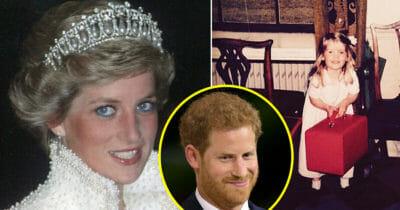 Grafika przedstawia trzy zdjęcia - księżna Diana, książę Harry i Kitty Spencer