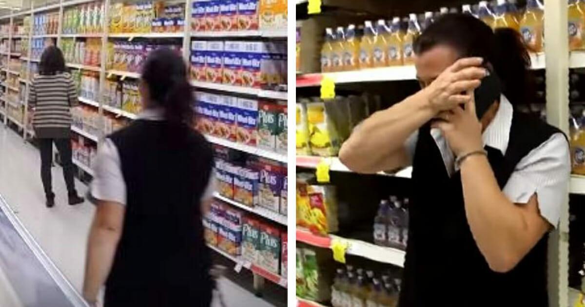 Kasjerka przygląda się twarzy klientki i chwilę później zalewa się łzami