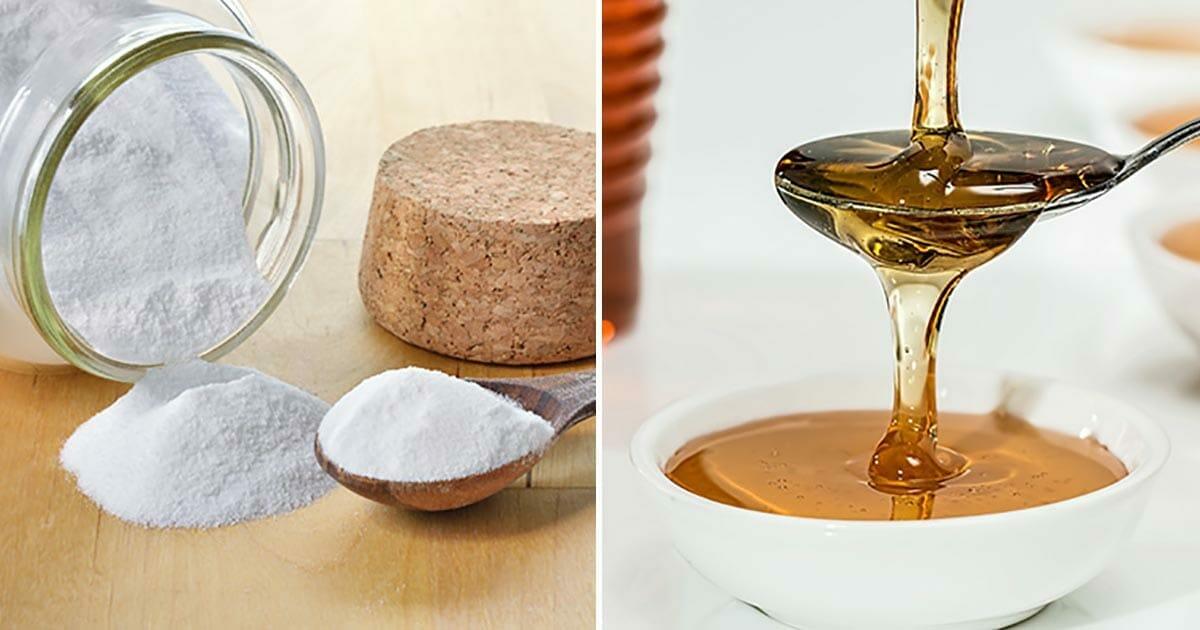 Grafika przedstawia dwa zdjęcia: po lewej soda w słoiku, po prawej miód