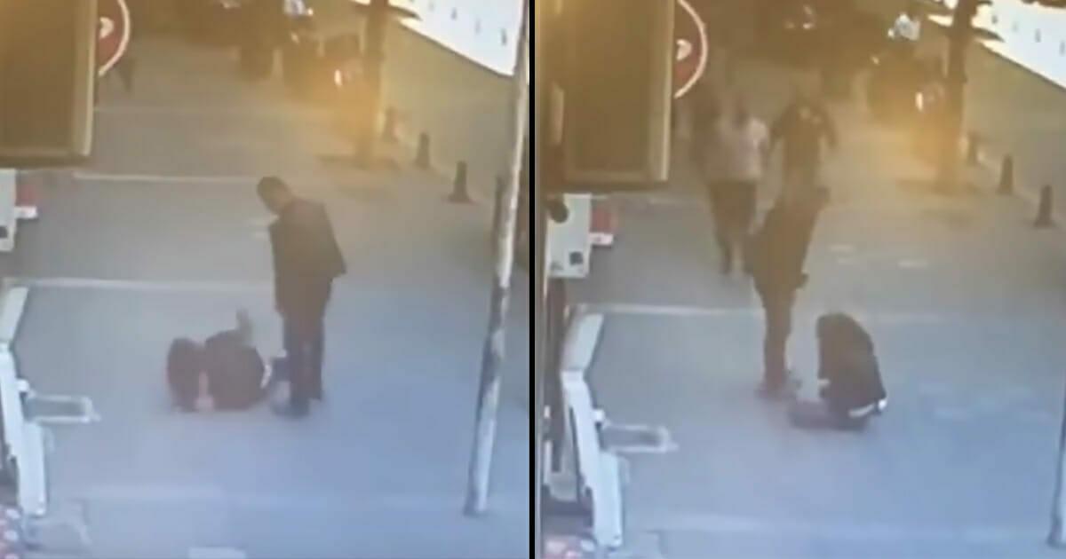 W biały dzień mężczyzna bije swoją byłą żonę - nieznajomy bohater natychmiast wkracza do akcji
