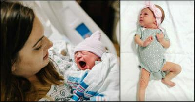 Grafika przedstawia dwa zdjęcia - po lewej Jordan trzyma na rękach małą Lucy (niedługo po porodzie), po prawej kilkutygodniowa Lucy