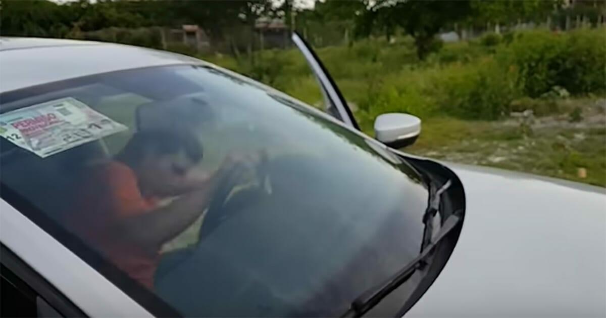 Mężczyzna wsiadający do auta
