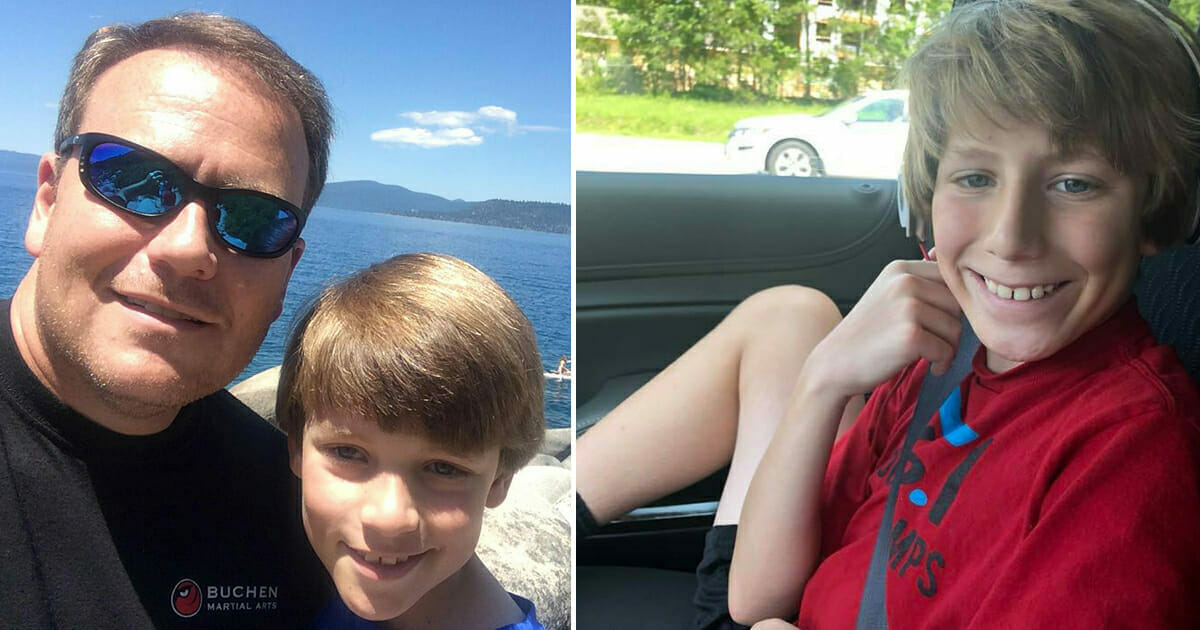 Grafika przedstawia dwa zdjęcia: po lewej Blanton i Sean, po prawej uśmiechnięty Sean