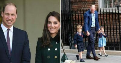 Grafika przedstawia dwa zdjęcia: po lewej William i Kate, po prawej William z Georgem i Charlotte