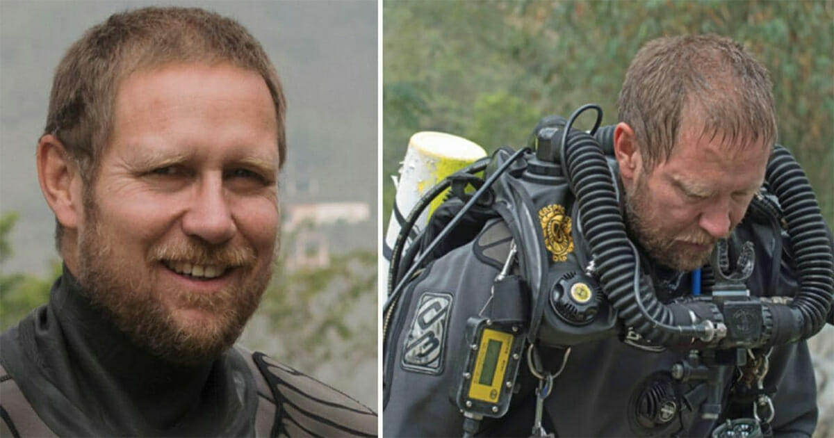 Dwa zdjęcia przedstawiające Richarda Harrisa w stroju nurka