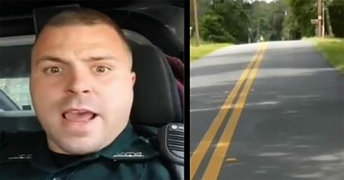 Grafika przedstawia dwa zdjęcia: po lewej policjant, który nagrał filmik; po prawej droga
