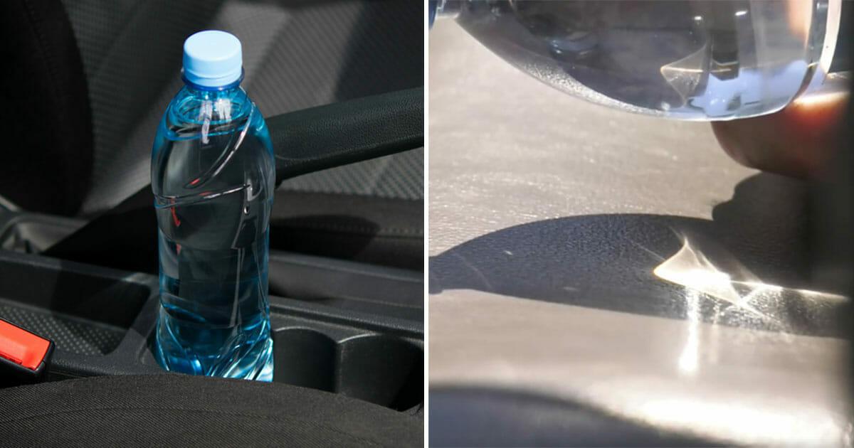 Strażacy alarmują: nigdy nie zostawiaj butelki z wodą w samochodzie!