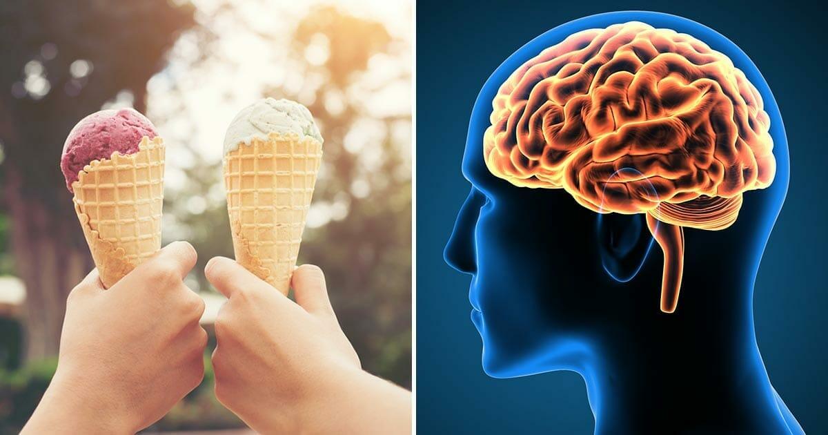 Grafika składa się z dwóch elementów: po lewej trzymane w dłoniach rożki lodów, po prawej ilustracja przedstawiająca mózg człowieka
