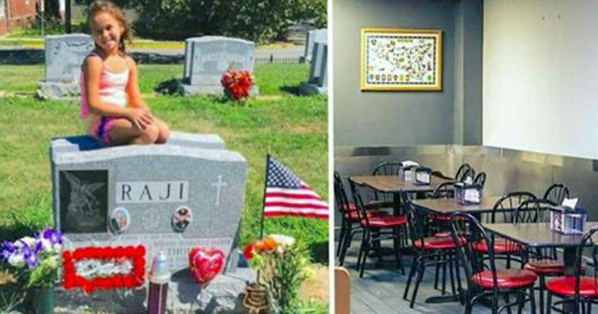 Grafika składa się z dwóch zdjęć: po lewej Mikayala siedząca na grobie swojego taty, po prawej wnętrze pizzerii