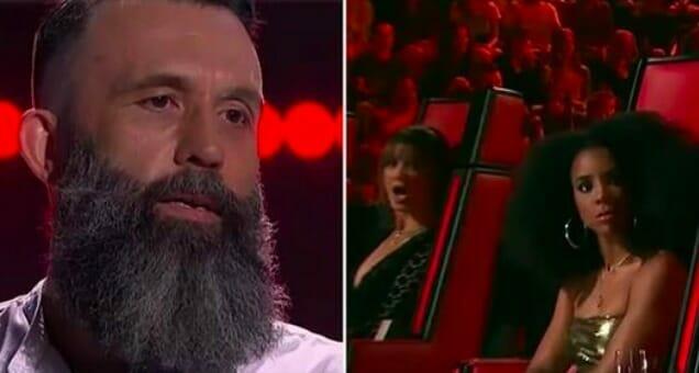 Na scenie pojawia się wykonawca z brodą - po chwili członkowie jury nie mogą wyjść z osłupienia
