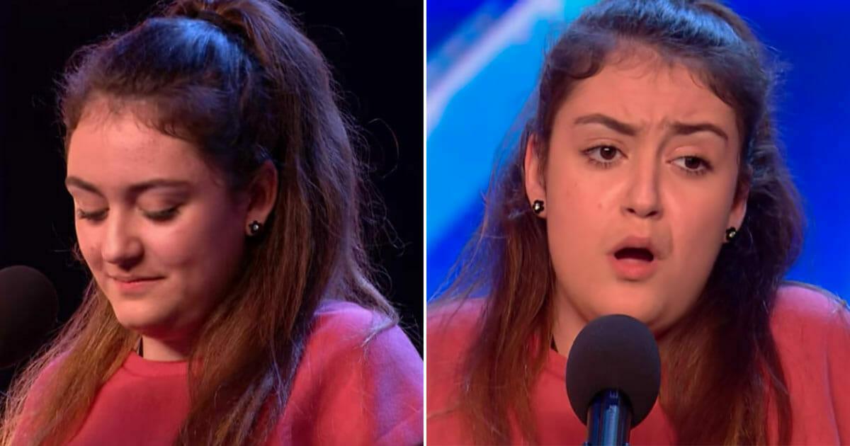 Zdenerwowana nastolatka z trudem odpowiada na pytania - gdy zaczyna śpiewać Simon nie wierzy własnym uszom