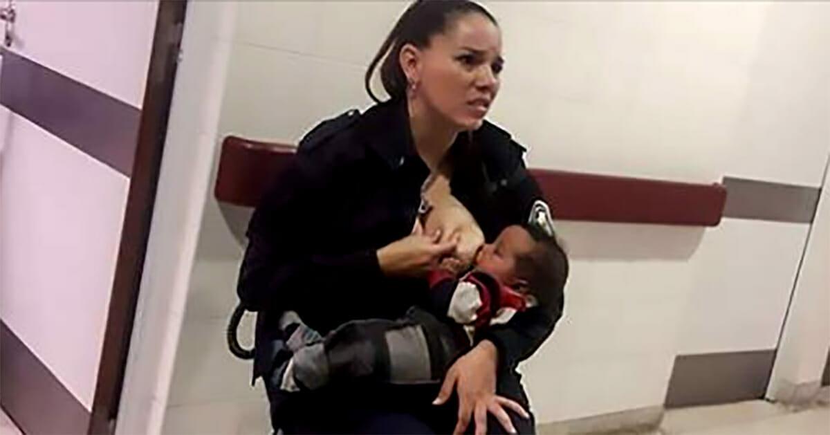 policjantka karmiąca piersią porzucone dziecko